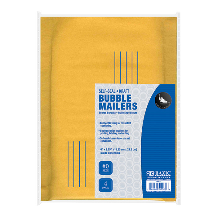 BAZIC 6 X 9.25 (#0) Self Sealing Bubble Mailers (4/Pack)