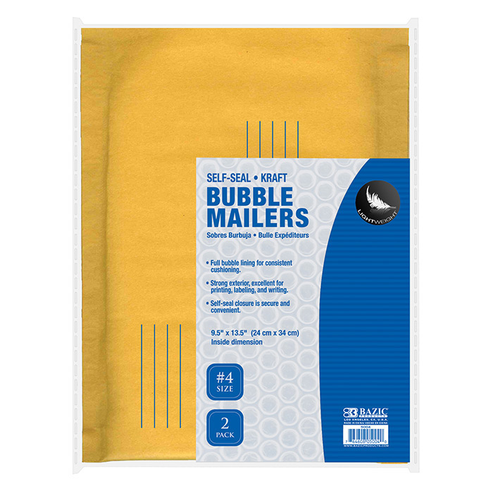 BAZIC 9.5 X 13.5 (#4) Self Sealing Bubble Mailers (2/Pack)