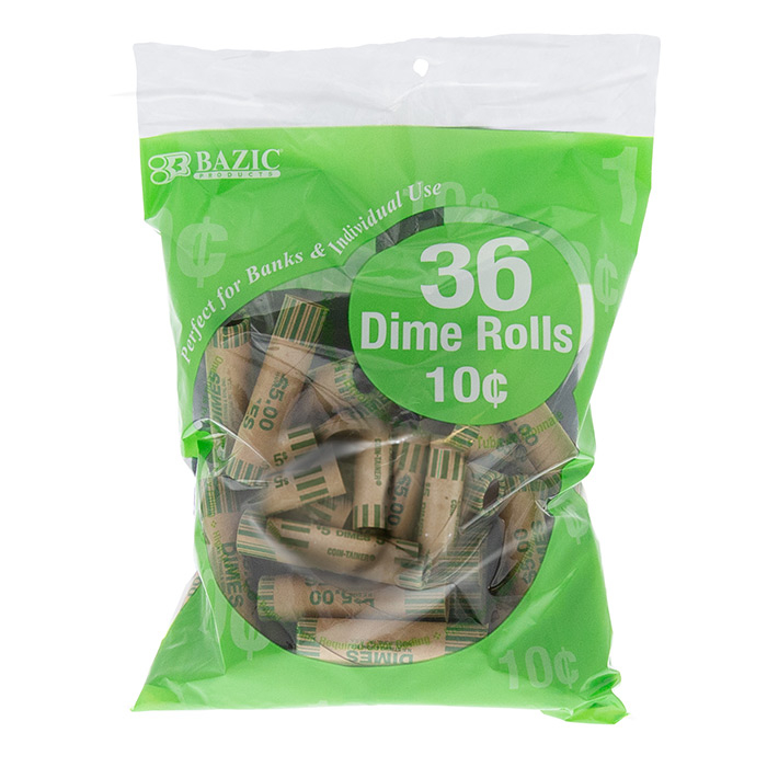 BAZIC Dime Coin Wrappers (36/Pack)