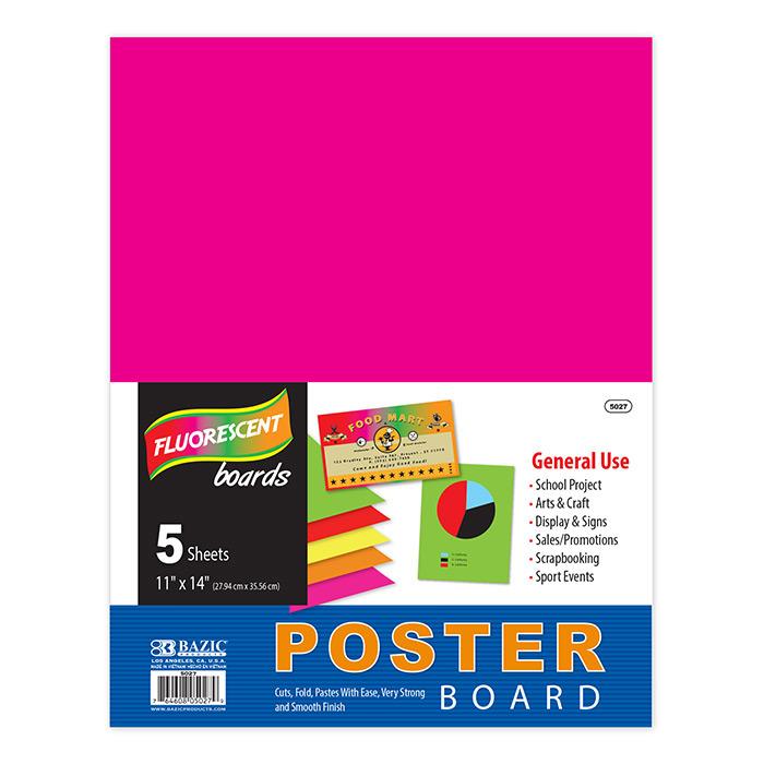BAZIC 11 X 14 Multi Color Fluorescent Poster Board (5/Pack