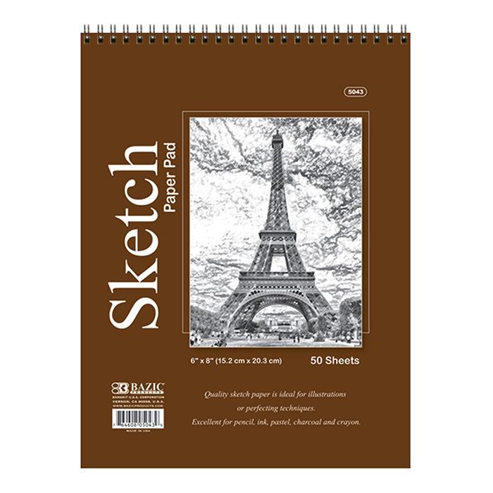 BAZIC 50 Ct. 6 X 8 Top Bound Spiral Premium Sketch Pad