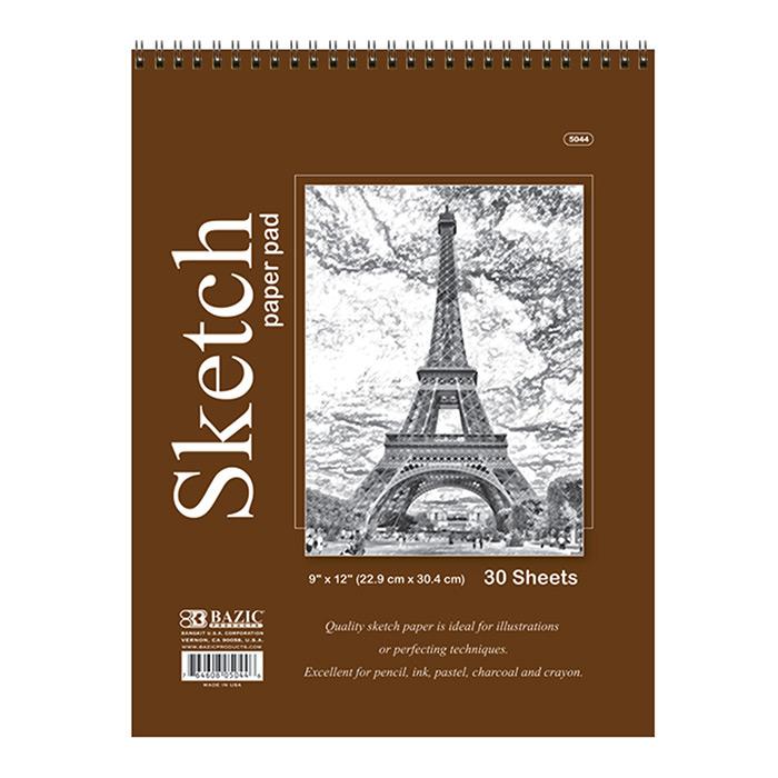BAZIC 30 Ct. 9 X 12 Top Bound Spiral Premium Sketch Pad