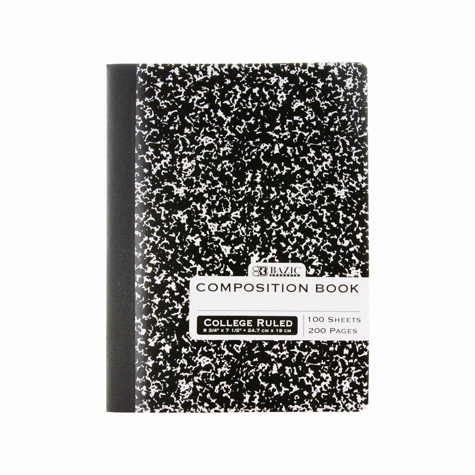 BAZIC C/R 100 Ct. Black Marble Composition Book