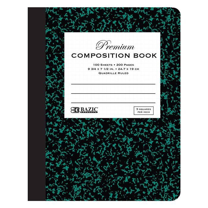 BAZIC 100 Ct. 5-1 Quad-Ruled Green Marble Composition Book