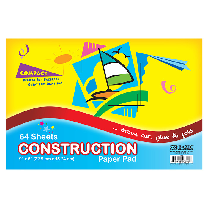 BAZIC 64 Ct. 6 X 9 Mini Construction Paper Pad