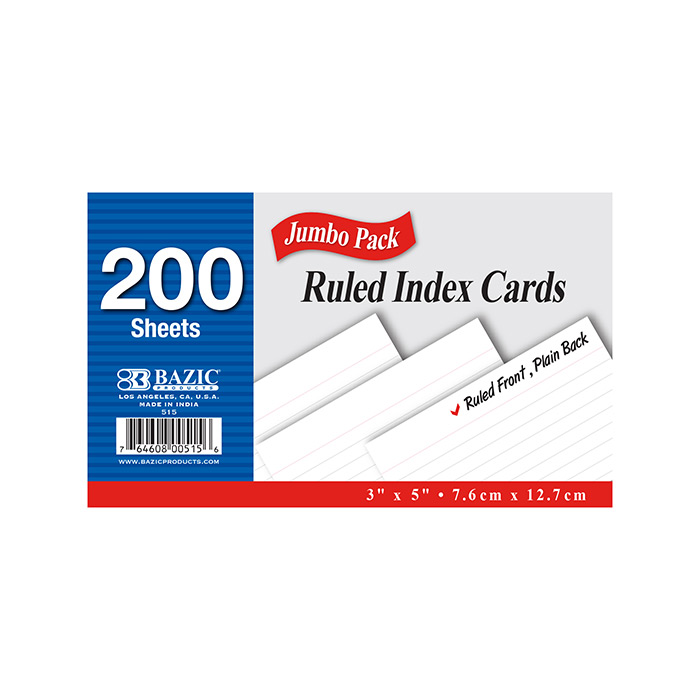 BAZIC 250 Ct. 3 X 5 Ruled White Index Card