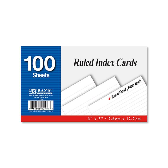 BAZIC 100 Ct. 3 X 5 Ruled White Index Card