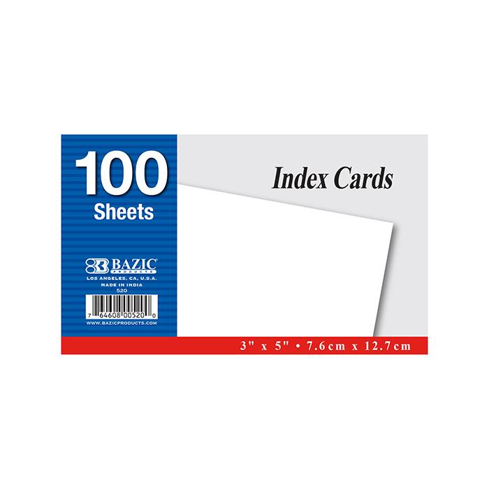 BAZIC 100 Ct. 3 X 5 Unruled White Index Card