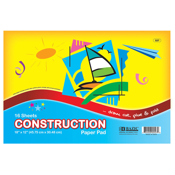 BAZIC 16 Ct. 18 X 12 Construction Paper Pad