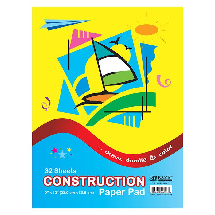 BAZIC 32 Ct. 9 X 12 Construction Paper Pad