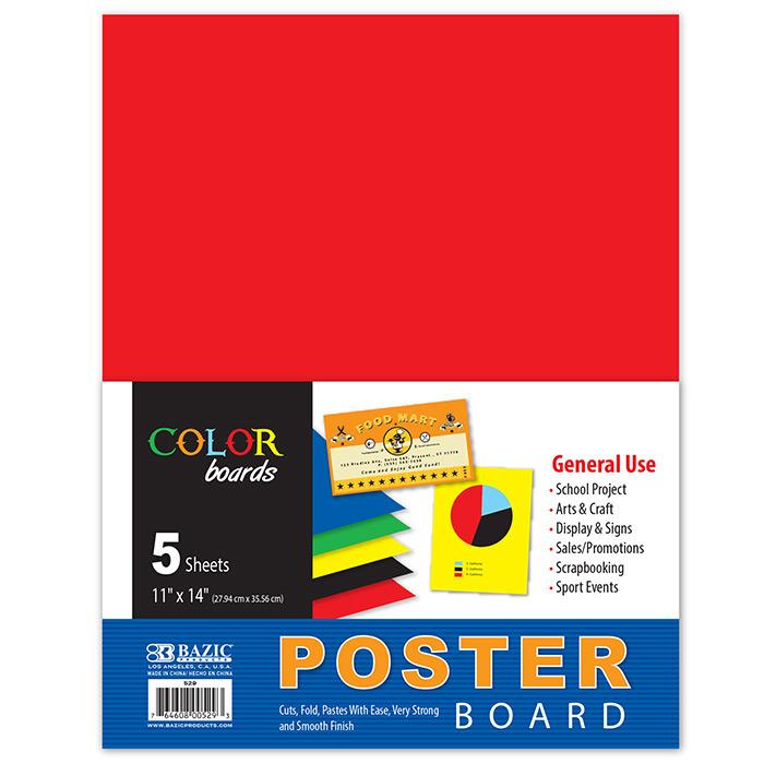 BAZIC 11 X 14 Multi Color Poster Board (10/Pack)