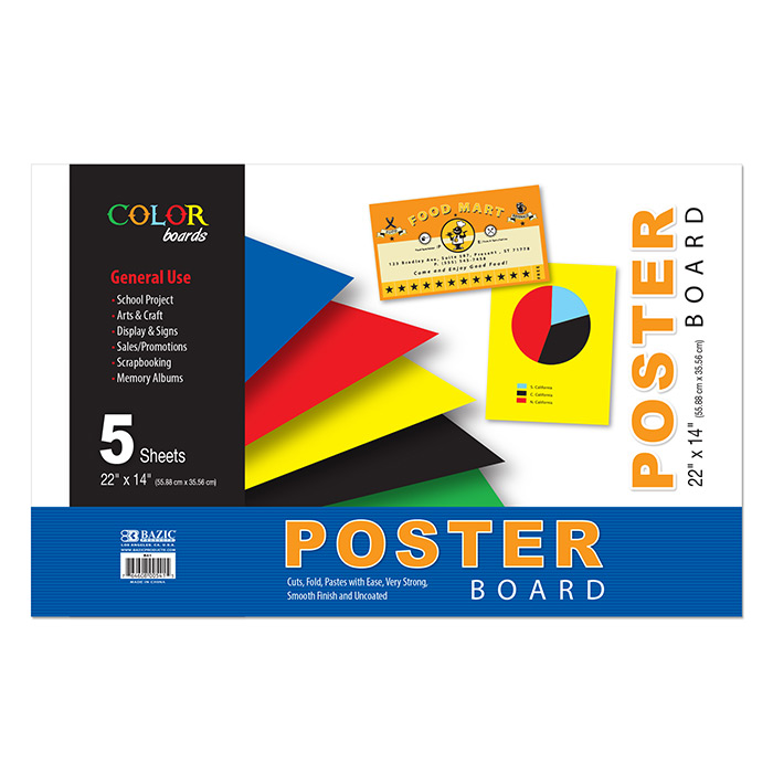 BAZIC 22 X 14 Asst. Color Poster Board (5/Pack)