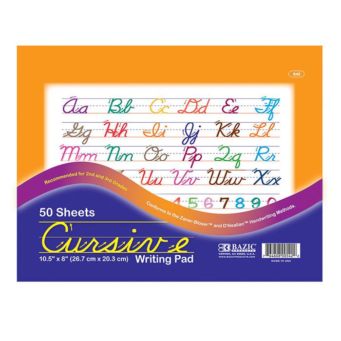 BAZIC 50 Ct. 10.5 X 8 Cursive Writing Pad