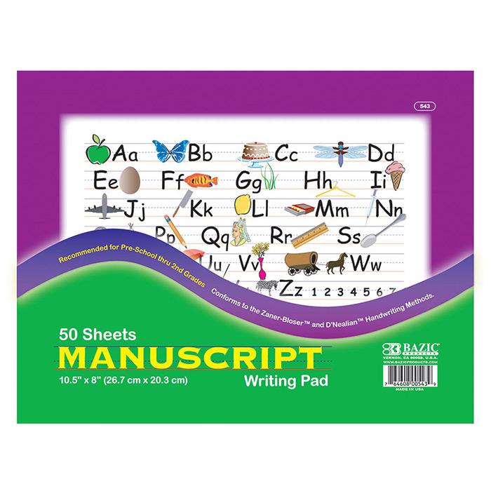 BAZIC 50 Ct. 10.5 X 8 Manuscript Writing Pad