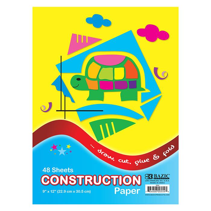 BAZIC 48 Ct. 9 X 12 Construction Paper