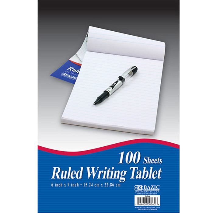 BAZIC 100 Ct. 6 X 9 Ruled Writing Tablet