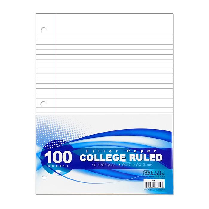 BAZIC C/R 100 Ct. Filler Paper