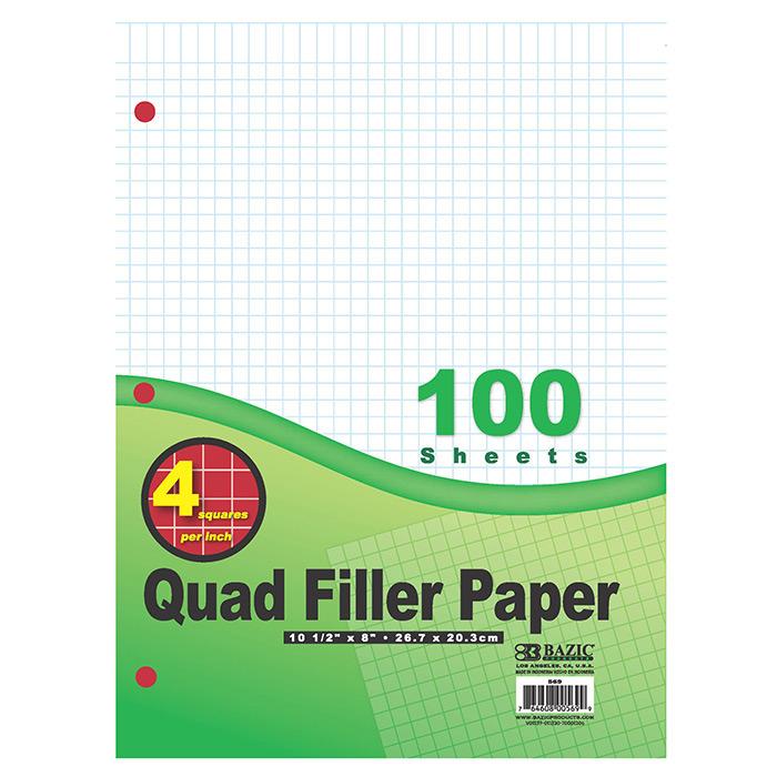 BAZIC 100 Ct. 4-1 Quad-Ruled Filler Paper
