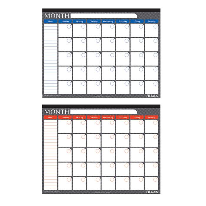 BAZIC 17 X 22 Undated 12-Months Desk Pad Calendar