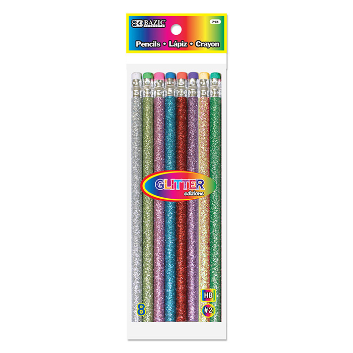 BAZIC Metallic Glitter Wood Pencil w/ Eraser (6/Pack)