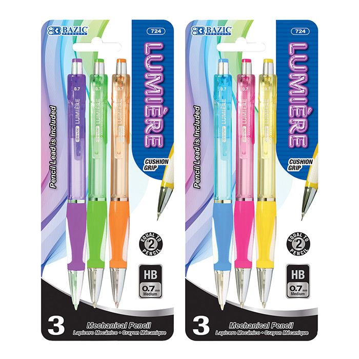 BAZIC Lumiere 0.7 mm Mechanical Pencil w/ Grip (4/Pack)